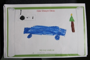 As part of the #NoWishTooBig program, children were encouraged to draw pictures of toys that they would wish for a child in need to receive this holiday season.