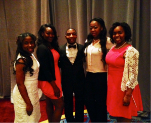 (From l-r) Pearls of Purpose Foundation, Inc. 2014 college scholarship recipients Alexandria Jones, Booker T. Washington High School; Mylecia Sims, Carver Early College; Christopher Smith, South Atlanta Computer Animation & Design; Jayla Palmer, South Atlanta Law & Social Justice; and Jasmine Woodard, Coretta Scott King Young Women's Leadership Academy High School.