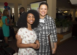 Henry Grady High School Senior Nia Nkosi pictured with Atlanta Public Schools Superintendent  Dr. Meria J. Carstarphen. Nkosi began attending Cultural Experience Project field trips 10 years ago as a student at Morningside Elementary, Inman Middle School, and now Grady High.