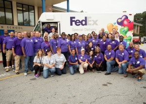 Seventy FedEx Cares Atlanta employee volunteers refurbished Emma Hutchinson Elementary School's library, read books to students, and distributed two books to each of the school's 400 students to take home during their annual FedEx Cares Day.
