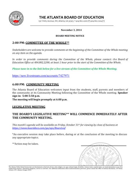 Board Meeting Notice November 3 2014
