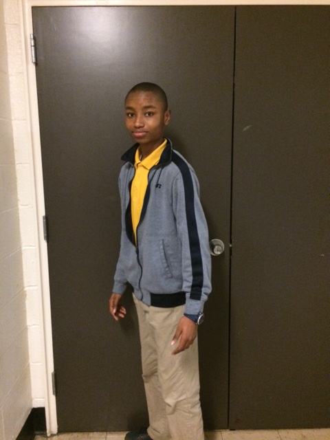Bunche Middle School 8th grade student Alahji Barry