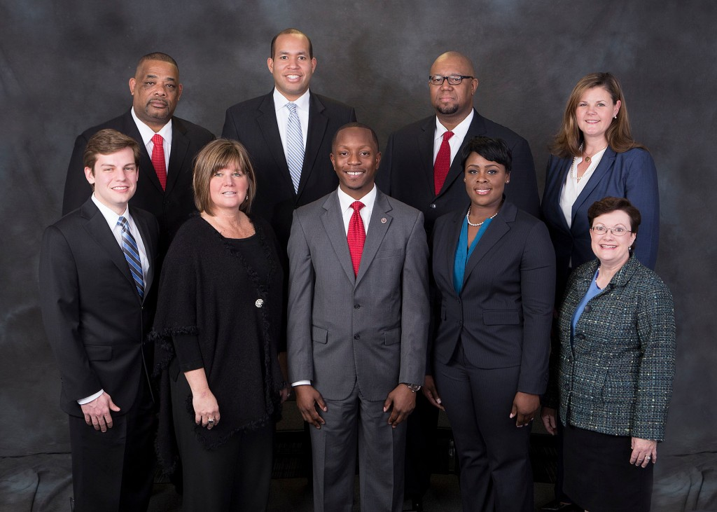 (From L-R) Second row: Atlanta Board of Education Members Steven D. Lee, District 5; Jason F. Esteves, At-Large, Seat 9 (Districts 5&6); Byron D. Amos, District 2; Leslie Grant, District 1. First row: Matt D. Westmoreland, District 3; Nancy M. Meister, District 4 (Vice Chair); Courtney D. English, At-Large, Seat 7 (Districts 1&2); Eshé P. Collins, District 6; and Cynthia Briscoe Brown, At-Large, Seat 8 (Districts 3&4).  Photo Credit: Scott C. King, APS