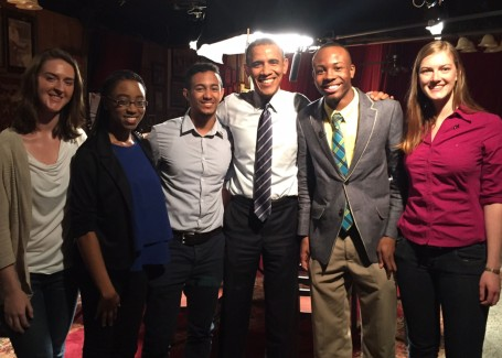 "(From L-R) Lauren Milner, Georgia Tech; D'Ariel Myrick, Booker T. Washington High School; Gabriel Galarza, Georgia Tech; President Barack Obama; Antwarn Sanders, Booker T. Washington High School; and Laura O'Connell, Georgia Tech participated in the documentary ""A Roundtable with President Barack Obama: The Cost of Education"" filmed and produced by Vice Media in Atlanta March 9.  Photo Credit: White House Staff"