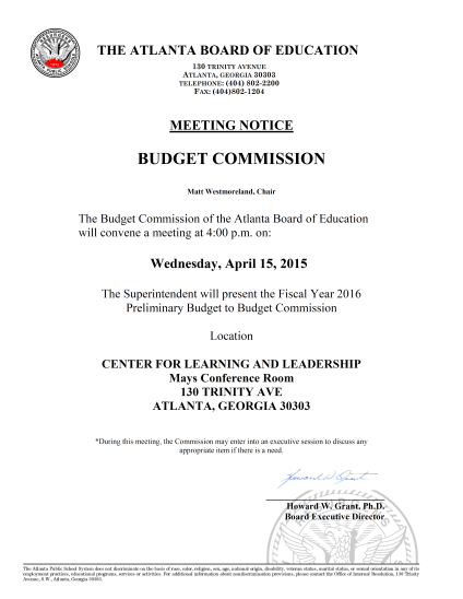 Budget Commission Meeting  04142015