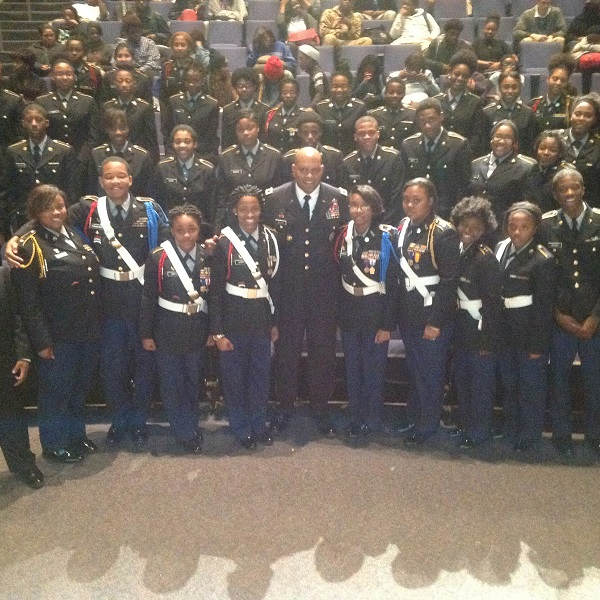 Two-star Major General Leslie C. Smith, a 1981 graduate of Douglass High School, came home to speak to JROTC cadets and students.