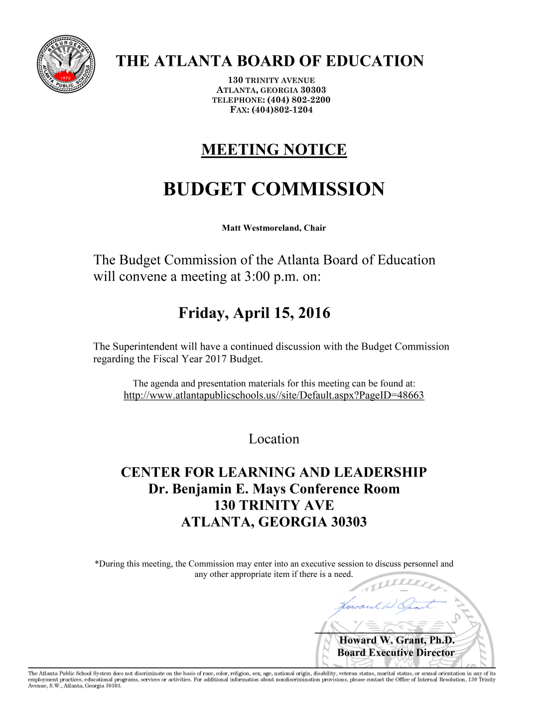 Budget Commission Meeting 04152016