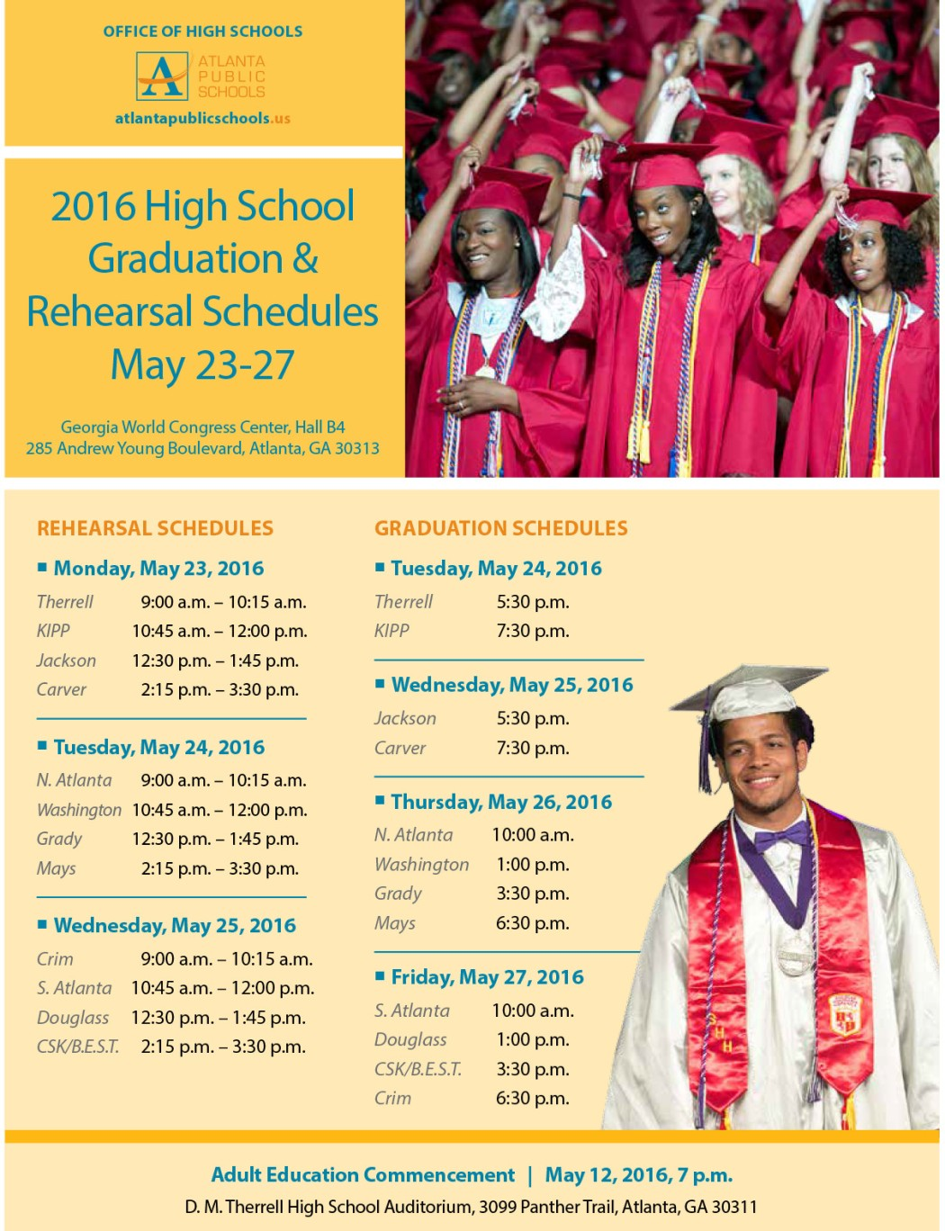 3r3-2016 APS rehearsal-graduation schedules