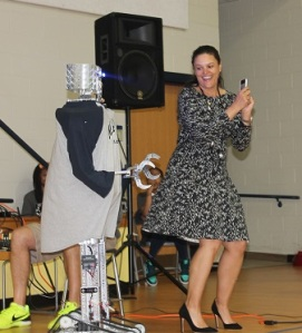 M.A. Jones ES STEM celebration (Dr. C and robot)