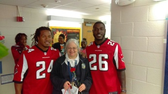 Freeman and Coleman with Oretha Campbell at Humphries ES